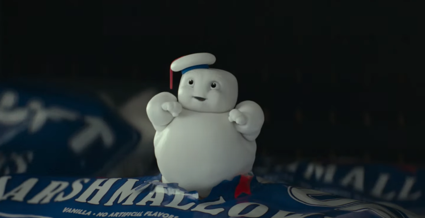 A tiny Staypuft marshmellow man from Ghostbusters: Afterlife