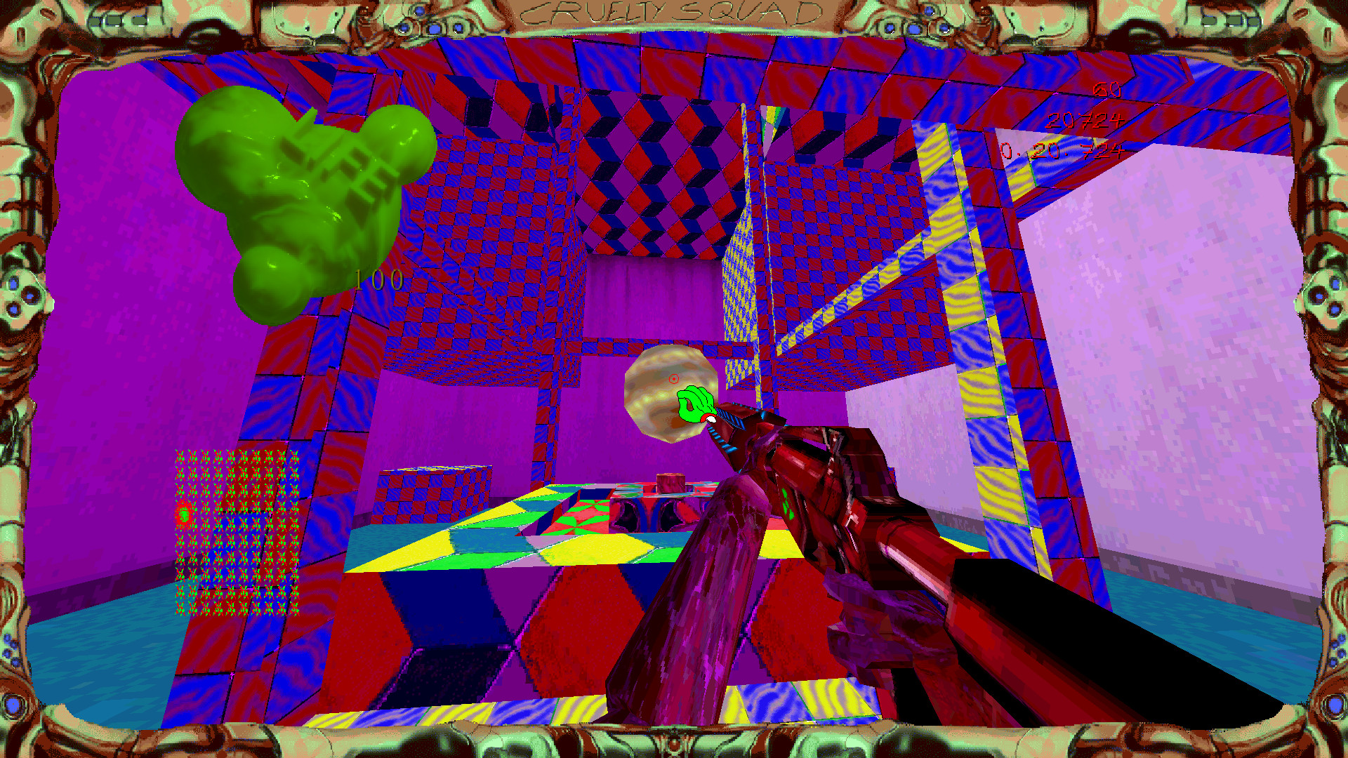 Cruelty Squad - The protagonist navigates through a purple, low resolution world. They are carrying a gun, and a large health bar takes up the top right of the screen.