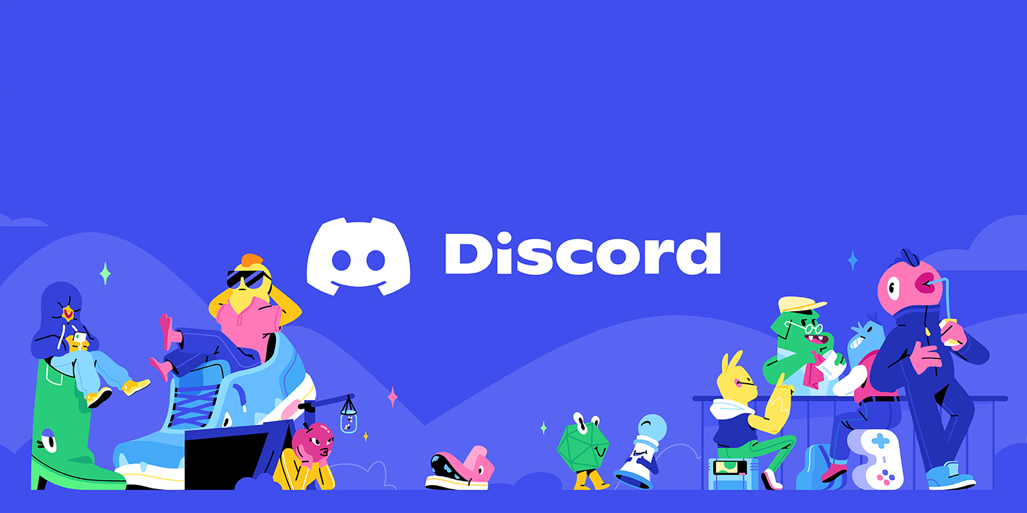 Discord's rebrand key art, which shows colorful characters hanging out together on a blue background