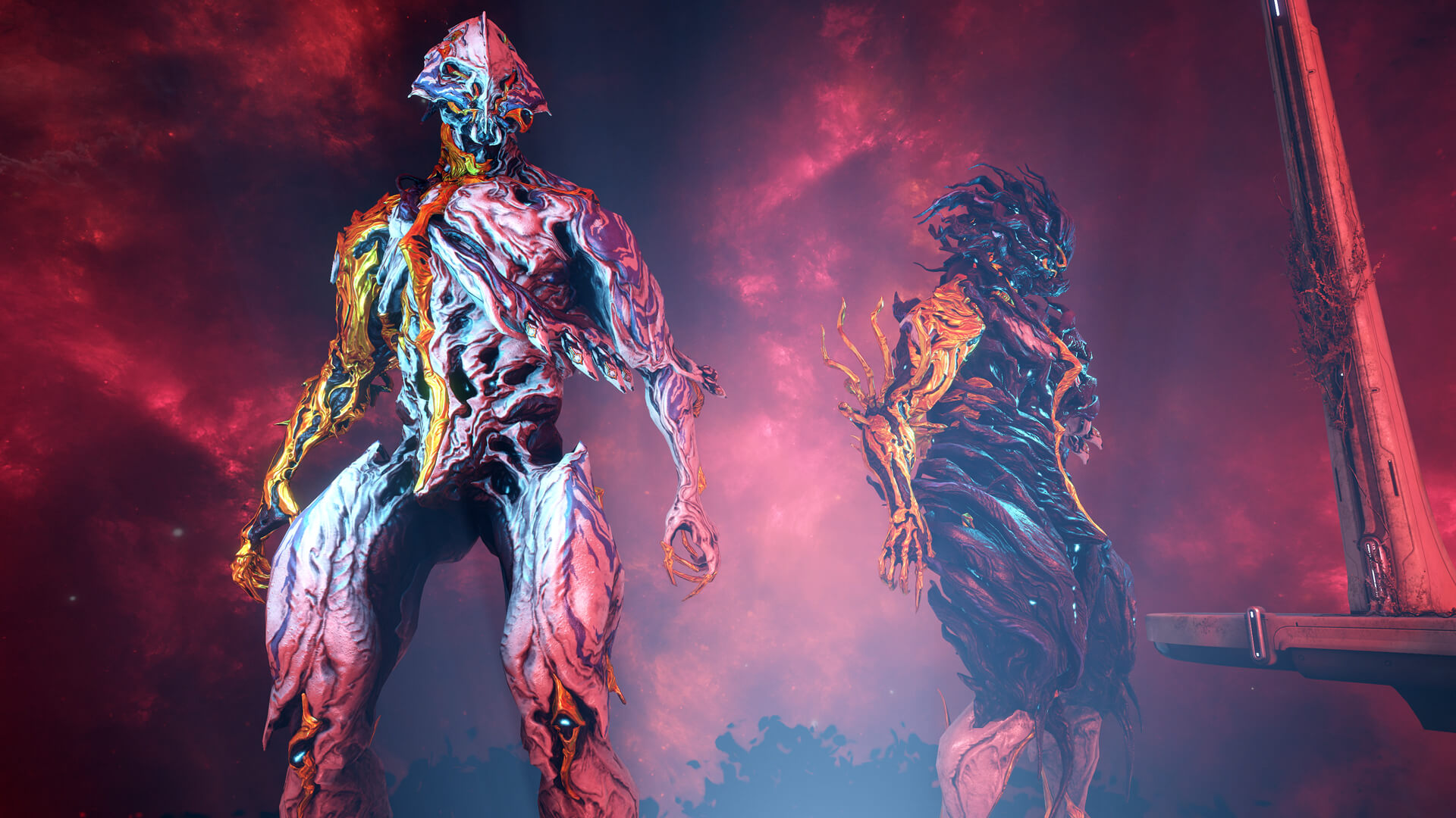 Warframe - the Nidus Prime Warframe stands in elegantly designed armor on a Sentinel battlefield.