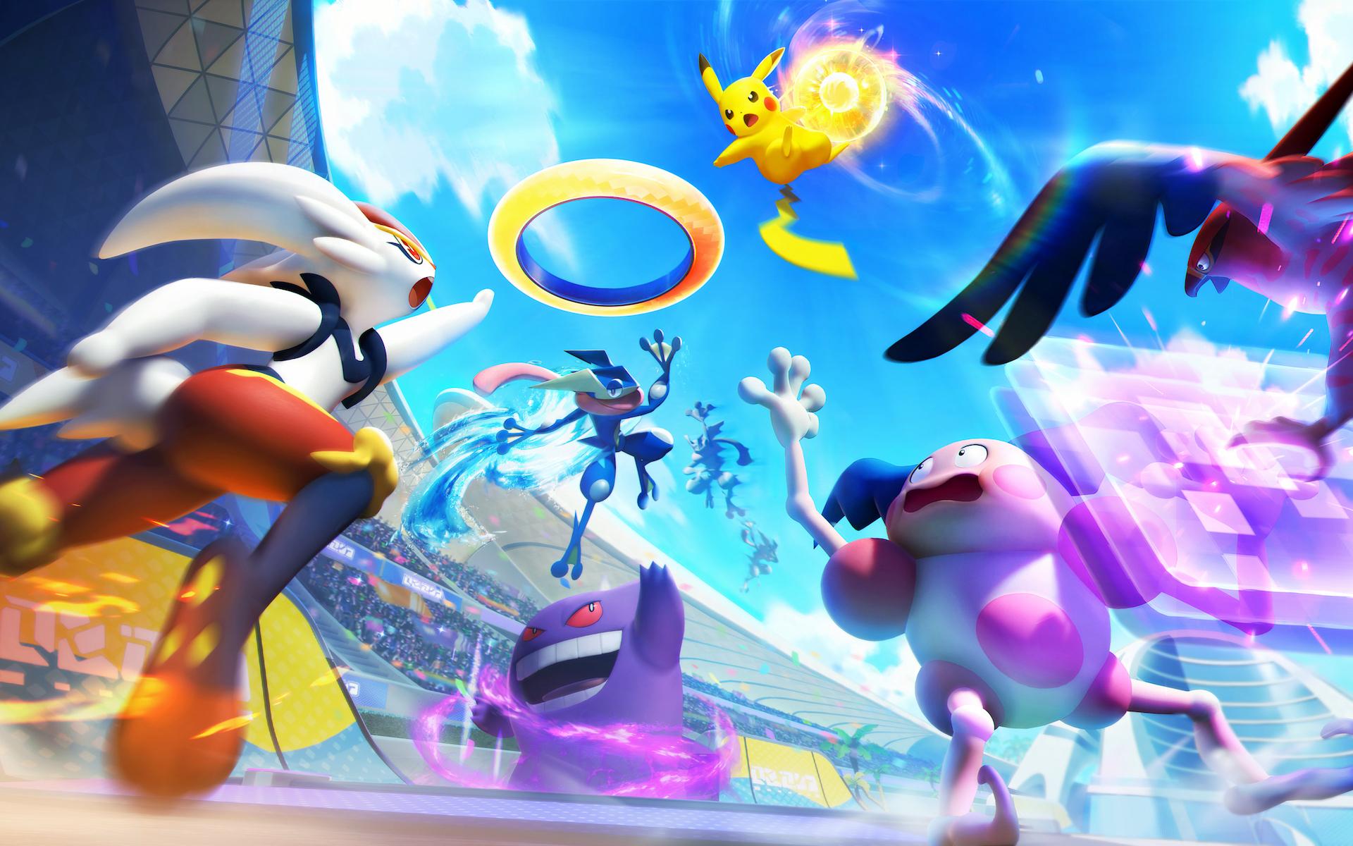Artwork of various Pokémon battling from Pokémon Unite