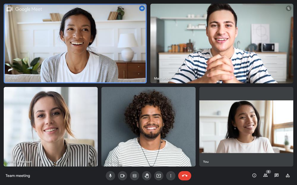 A screenshot of a Google Meet meeting on a Chromebook that includes five participants.