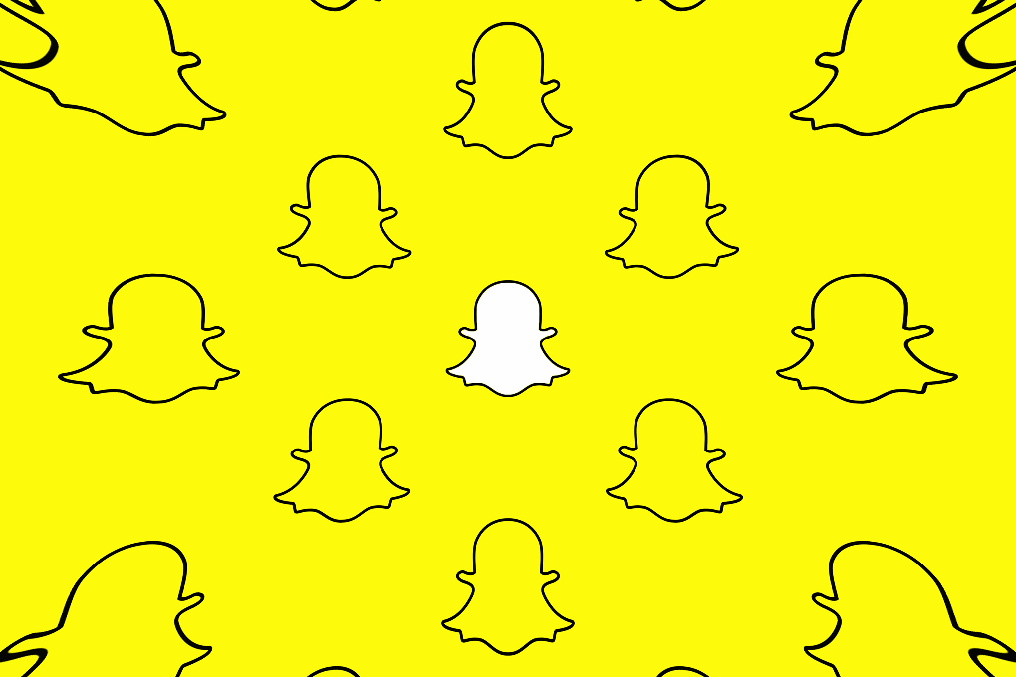 The Snapchat white ghost logo on a bright yellow background.