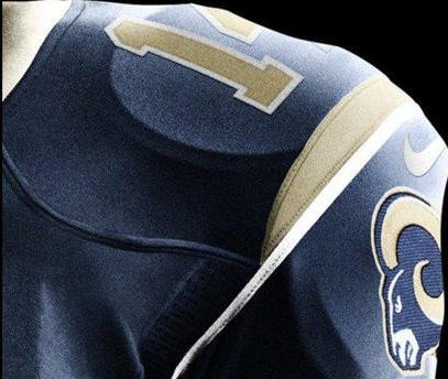 The new St. Louis Rams jersey, revealed Tuesday, April 3.