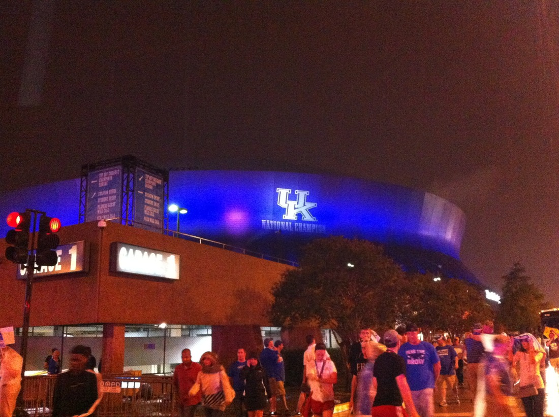 The Blue Orleans Superdome after the 2012 NCAA Tournament finals.