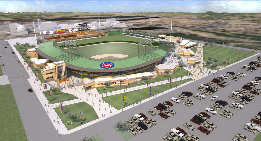 Aerial view rendering of Cubs/ASU facility.
