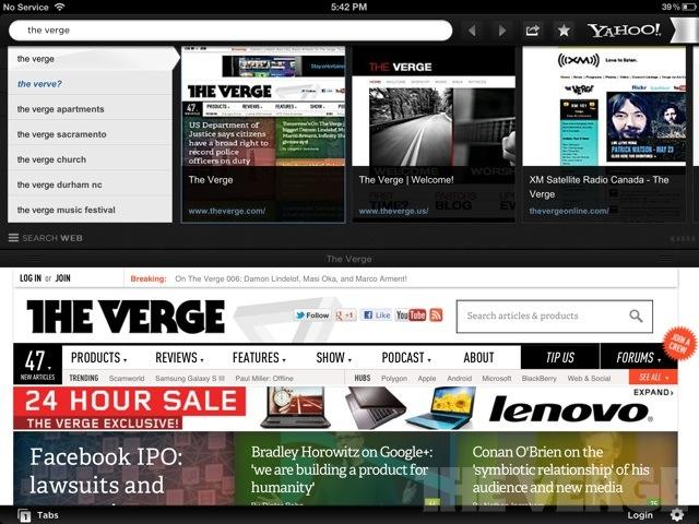 yahoo axis ipad screenshot
