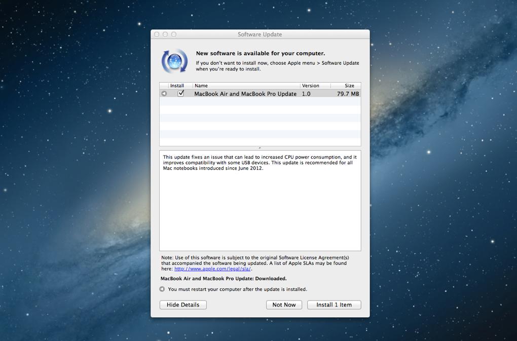 MacBook Air and MacBook Pro software update