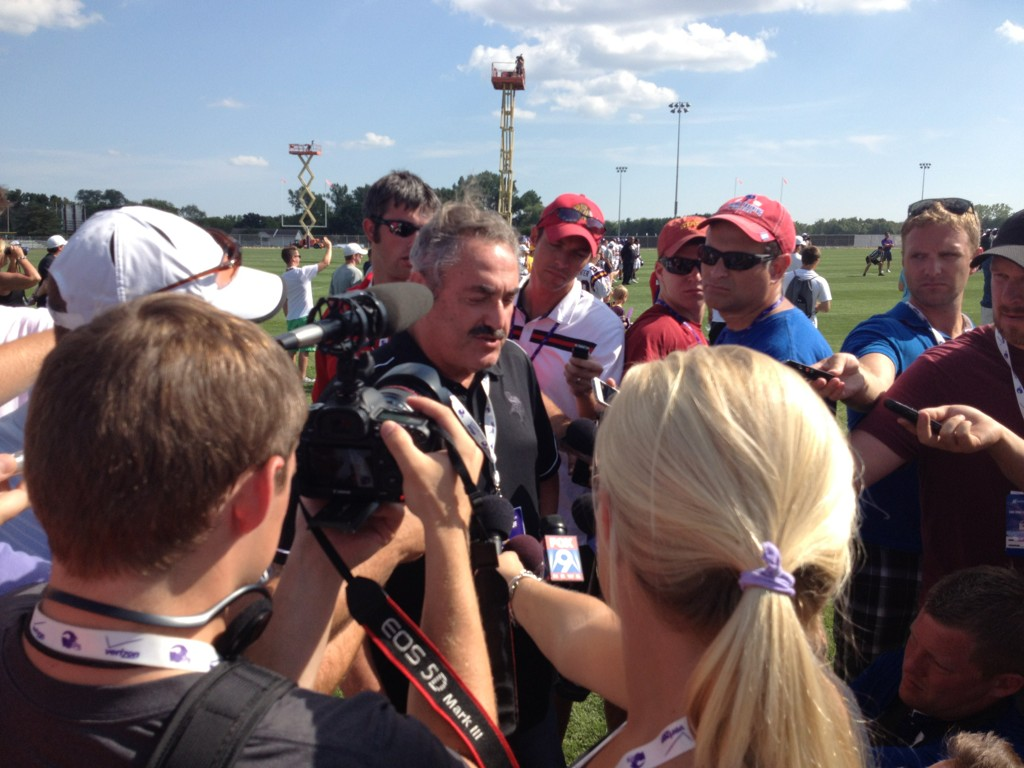 Zygi Wilf addresses reporters on Tuesday in Mankato. (You may notice the ruggedly handsome reporter on the right.)