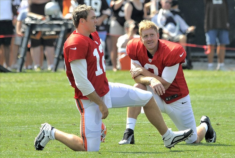 Quarterbacks Colt McCoy and Brandon Weeden tried to lead touchdown drives in one-minute drills on Thursday. Did they succeed? Mandatory Credit: David Richard-US PRESSWIRE