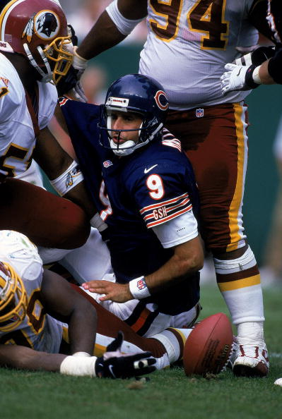 31 Oct 1999: Shane Mathews #9 of the Chicago Bears is sacked during the game.
