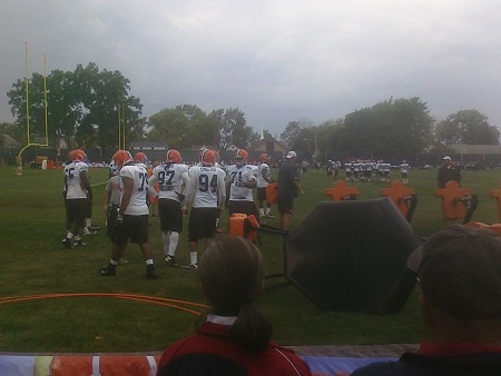 The defensive line finishes up their individual drills on Day 26 of Cleveland Browns training camp in Berea, OH. It was an overcast day, but it felt great not being scorched by the sun.