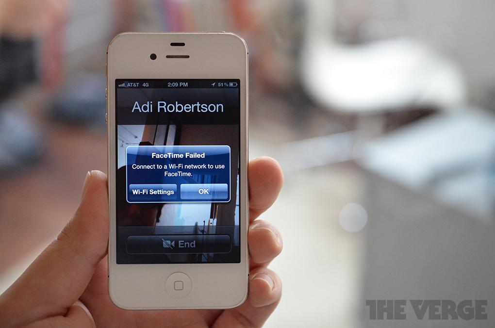 Apple AT&T Facetime cellular error (STOCK)