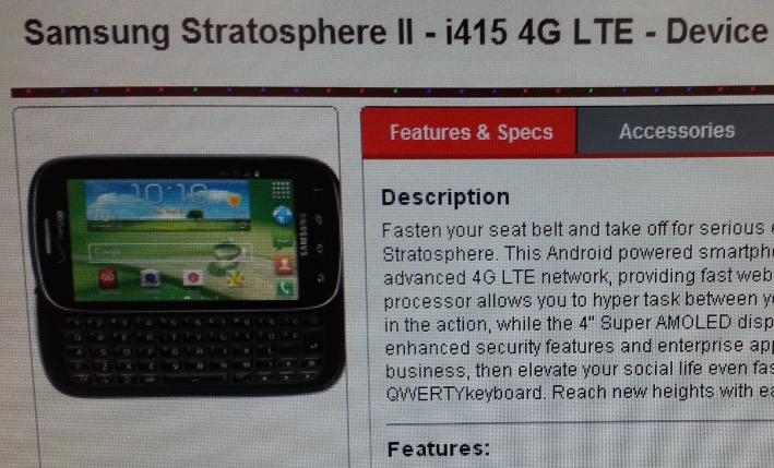 Samsung Stratosphere 2 leak