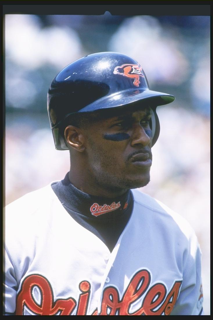 Eric Davis on May 13, 1997 (Mandatory Credit: Otto Greule Jr./Allsport)