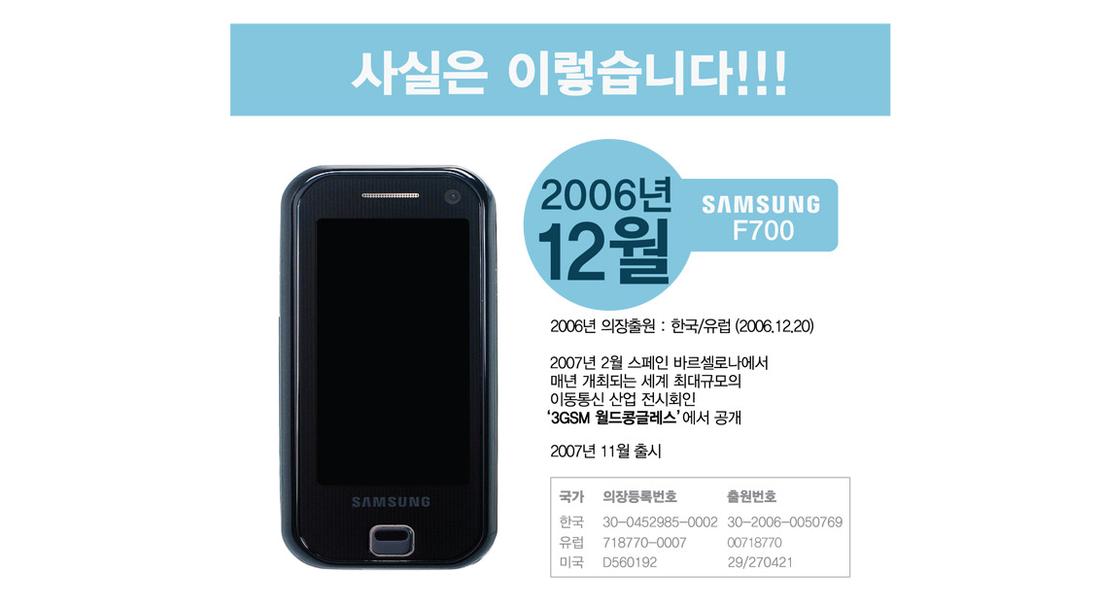 Samsung F700 vs Apple