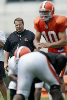 Cleveland Browns head coach Eric Mangini is still waiting for one of the quarterbacks to emerge over the other.