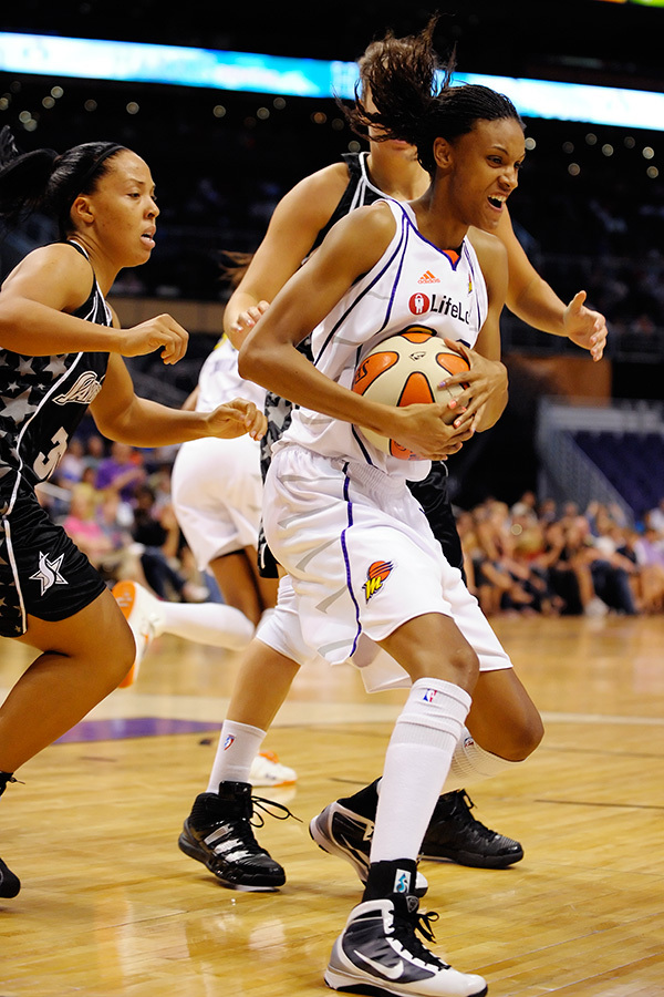 Phoenix Mercury's DeWanna Bonner is a leading candidate for Rookie of the Year based in large part on her rebounding and energy along with her ability to score points outside the set offense. <em>Photo by Max Simbron</em>