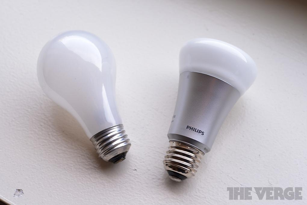 Philips LED light bulb vs incandescent stock 1020