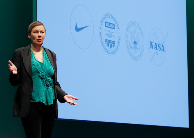 Nike VP Hannah Jones onstage at Launch summit (Credit: Nike)