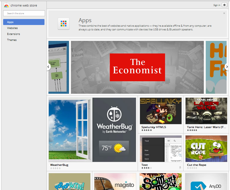Chrome OS Dev Channel Web Store Apps