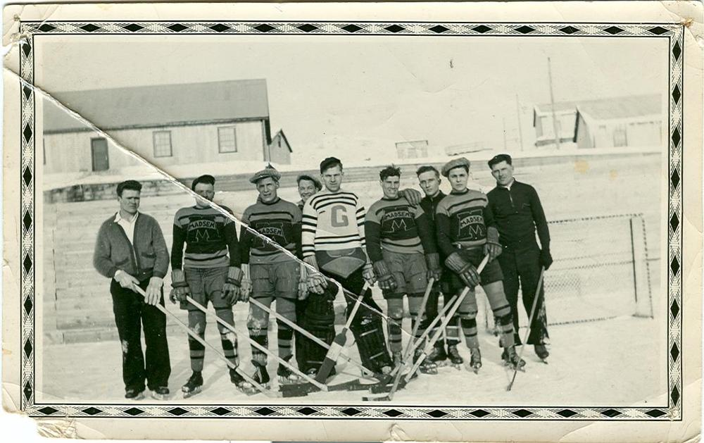 My great-uncle Louis' hockey team.  Pine Falls, MB, 1934.