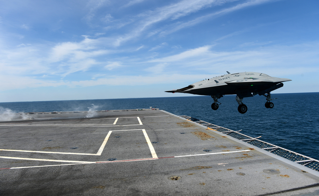 Navy X-47B drone takes off from aircraft carrier