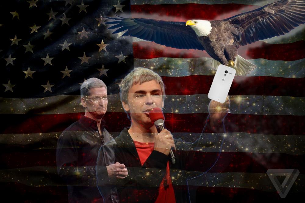 American tech Tim Cook, Larry Page, Moto X, Eagle (Credit: TC Sottek)