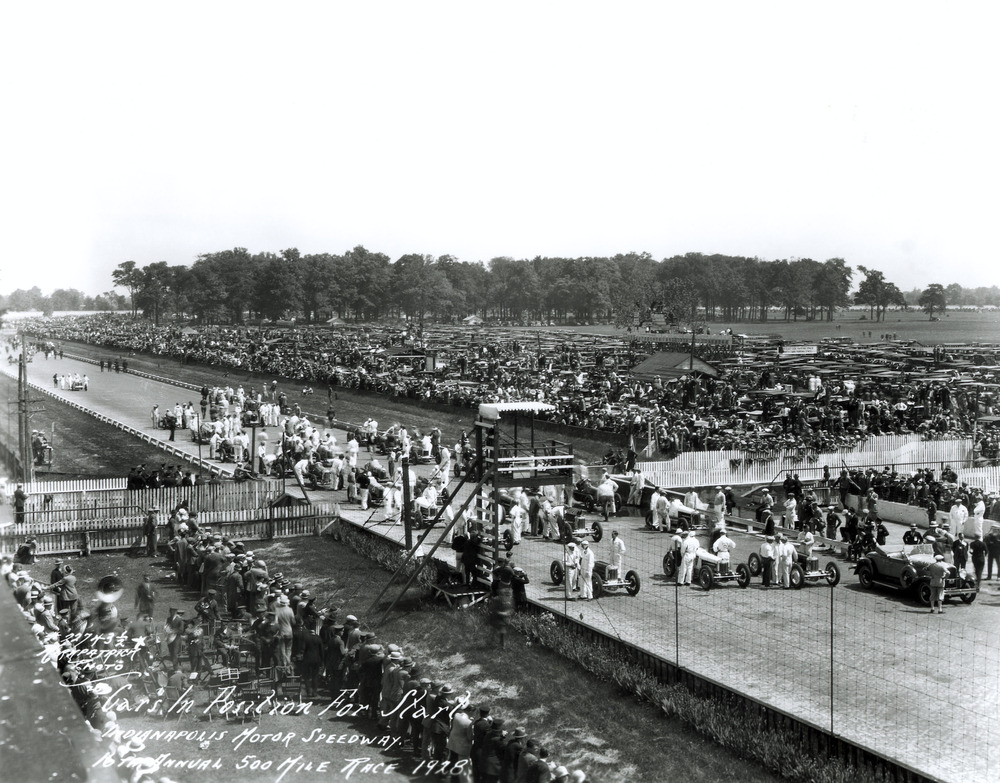 """The starters lined up in eleven rows of three for the 1924 Indianapolis 500 at the Indianapolis Motor Speedway (Photo: <a href=""""http://www.indianapolismotorspeedway.com"""" target=""""new"""">Indianapolis Motor Speedway</a>)"""