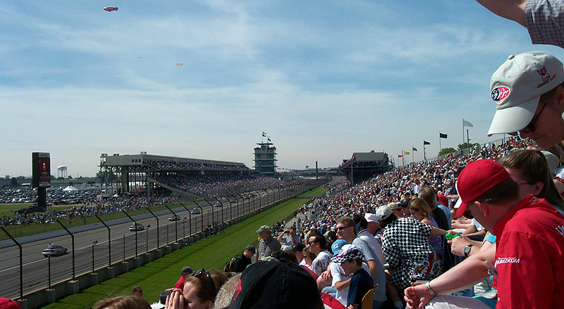 The view down the frontstretch of the Indianapolis Motor Speedway from Grandstand J before the start of the Indianapolis 500-Mile Race (Photo: Tony Johns/PopOffValve.com)