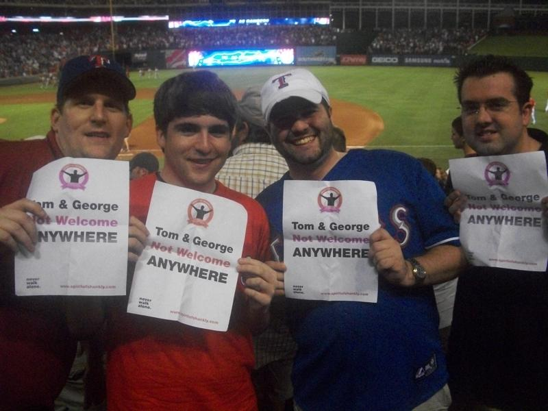 Brandon Bibb, Pat Iversen, Brandon Worley and Brad Gardner at Rangers Ballpark in Arlington on Friday, July 23, 2010. (Photo: some random Rangers fan)