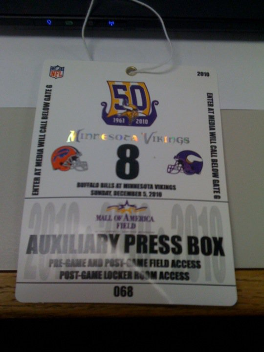 I got a Golden Ticket! I got a Golden Ticket! Thanks again to the Minnesota Vikings for making the entire experience possible.
