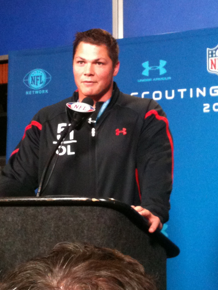 Baylor OL Danny Watkins charms the media at the 2011 NFL Combine.