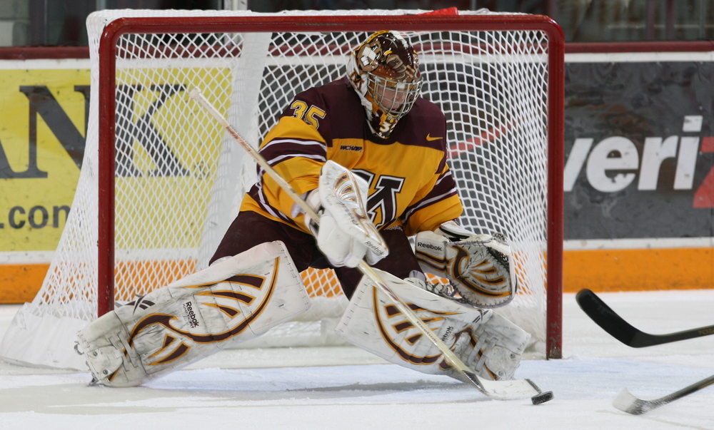 Gophers goalie Kent Patterson getting ready to save a shot (photo courtesy of Paul Rovnak)