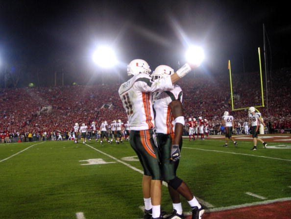 3 Jan 2002: Miami players celebrate during the Rose Bowl National Championship Game at the Rose Bowl in Pasadena, California. Miami won 37-14. (Stephen Dunn/Getty Images)