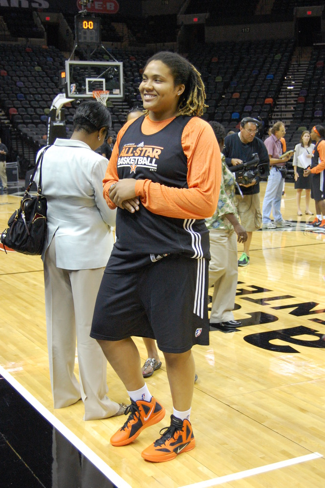 Danielle Adams meets the crowd before West All-Star practice Friday.
