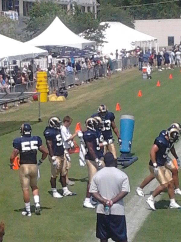 """The St. Louis Rams linebackers go through drills at camp on Monday. Thanks to <a href=""""https://twitter.com/#!/lannyosu"""" target=""""new"""">@lannyosu</a> for the photos and updates on Twitter today."""
