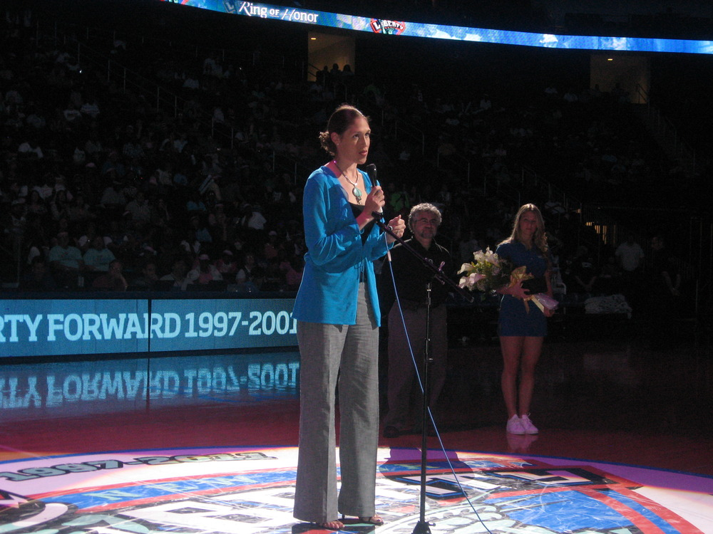 Rebecca Lobo was inducted into the New York Liberty's Ring of Honor with a special halftime ceremony during a game against the Seattle Storm at the Prudential Center last night. <em>(Photo by Ray Floriani).</em>