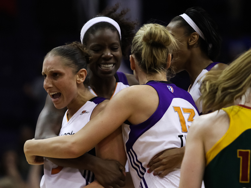 Diana Taurasi celebrates with teammates after hitting the go-ahead shot to help secure the victory for the Phoenix Mercury over the Seattle Storm. August 16, 2011. Photo by Ryan Malone, SB Nation Arizona