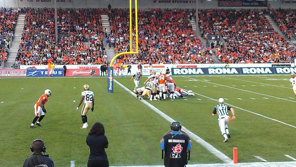 The extra roomy CFL end zone that is 20 yards.