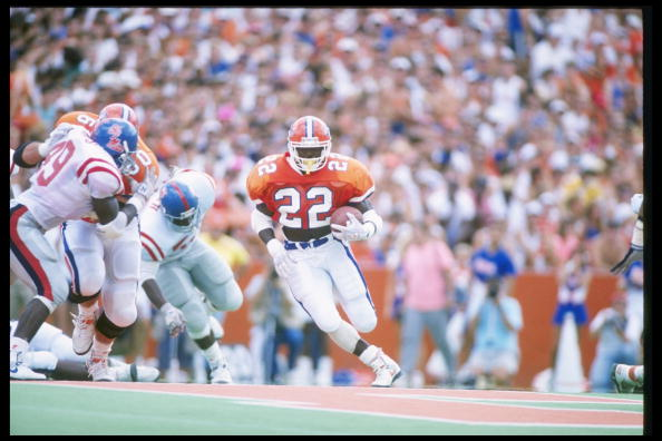 9 Sep 1989: Running back Emmitt Smith of the Florida Gators runs down the field during a game against the Mississippi Rebels at Florida Field in Gainesville, Florida. Mississippi won the game 24-19. (Allen Dean Steele/Allsport)