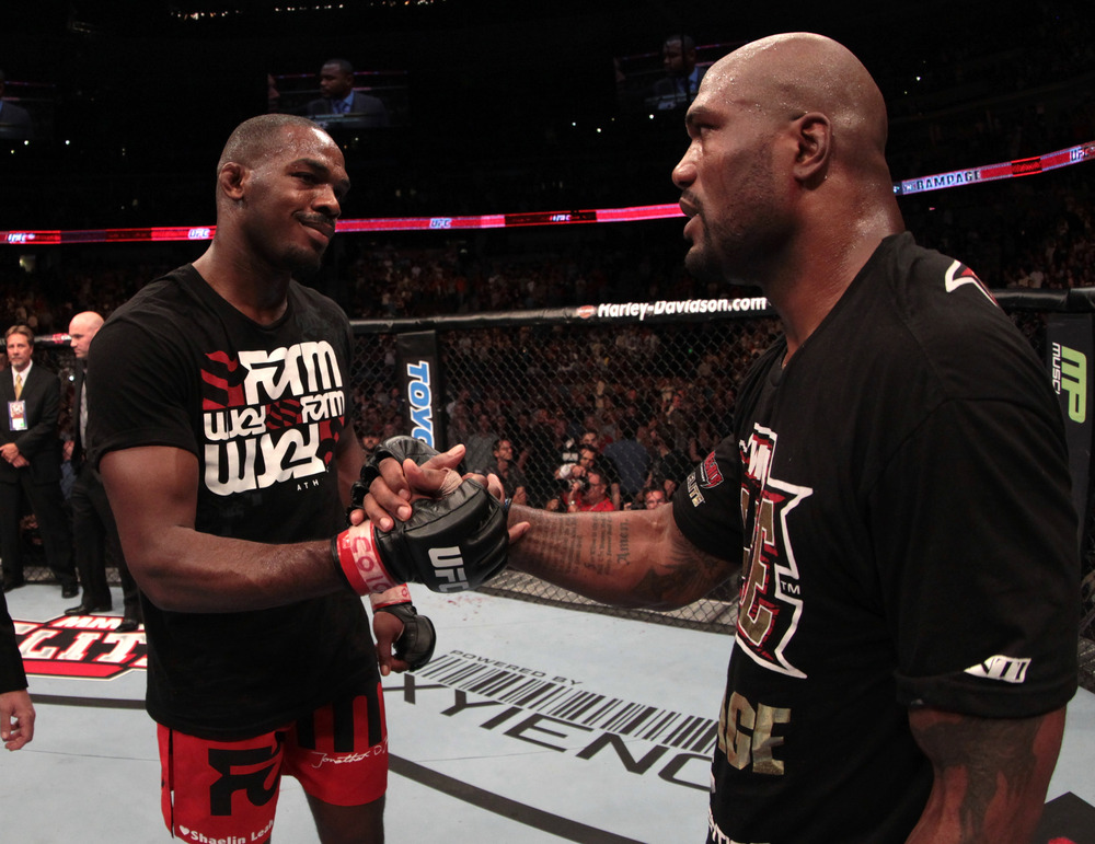DENVER, CO - SEPTEMBER 24: (R-L) Quinton 'Rampage' Jackson congratulates Jon Jones on his victory during the UFC 135 event at the Pepsi Center on September 24, 2011 in Denver, Colorado. (Photo by Jed Jacobsohn/Zuffa LLC/Zuffa LLC)