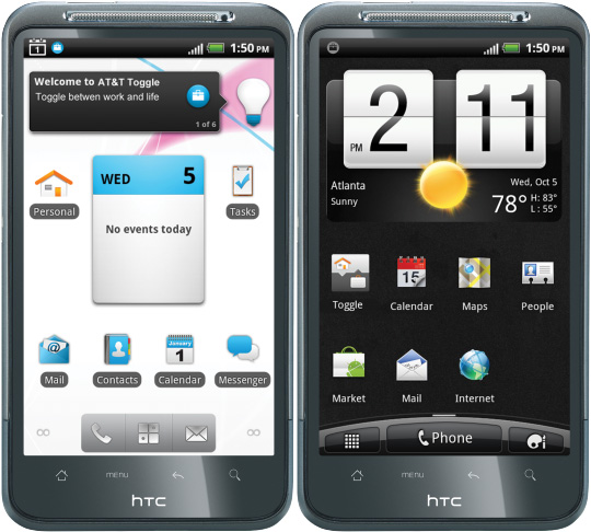 AT&T Toggle on HTC Inspire