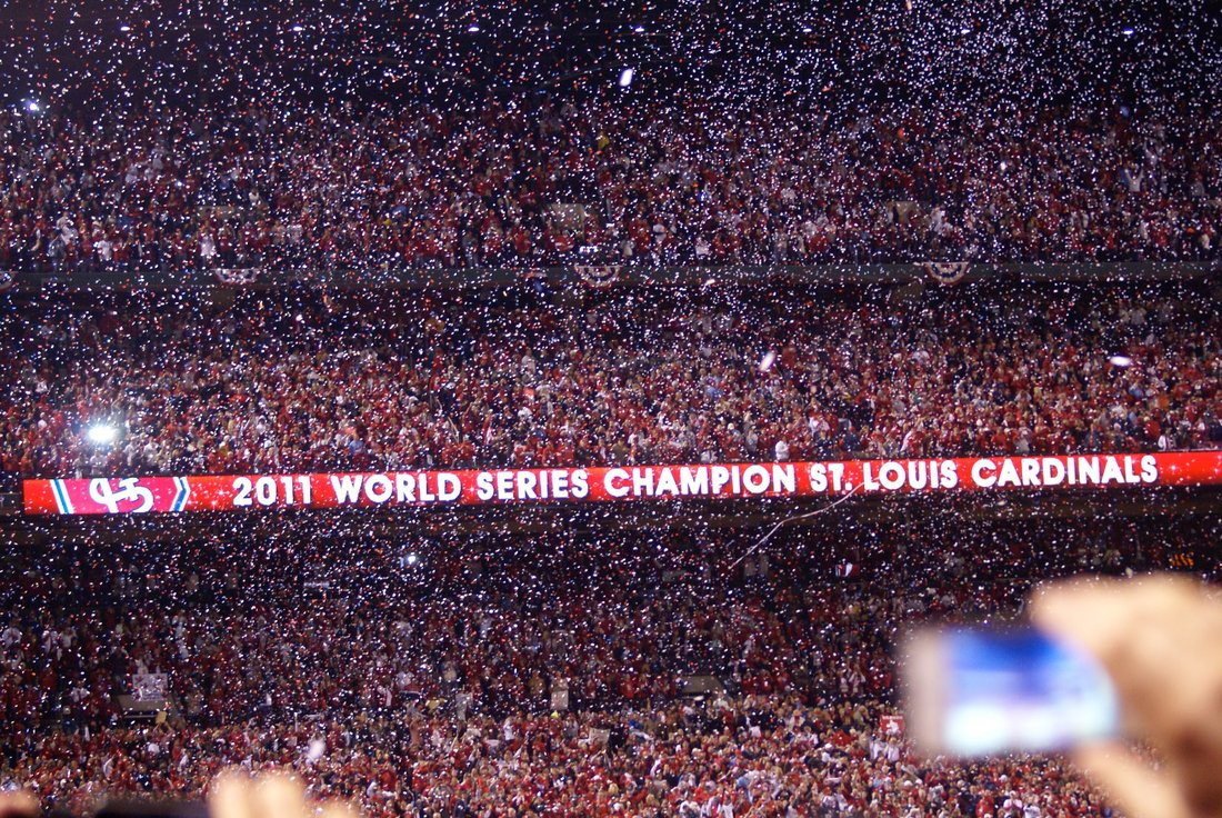 Busch Stadium erupts as the St. Louis Cardinals are named World Series champions, defeating the Texas Rangers in seven games. (Photo by Barbara Moore)