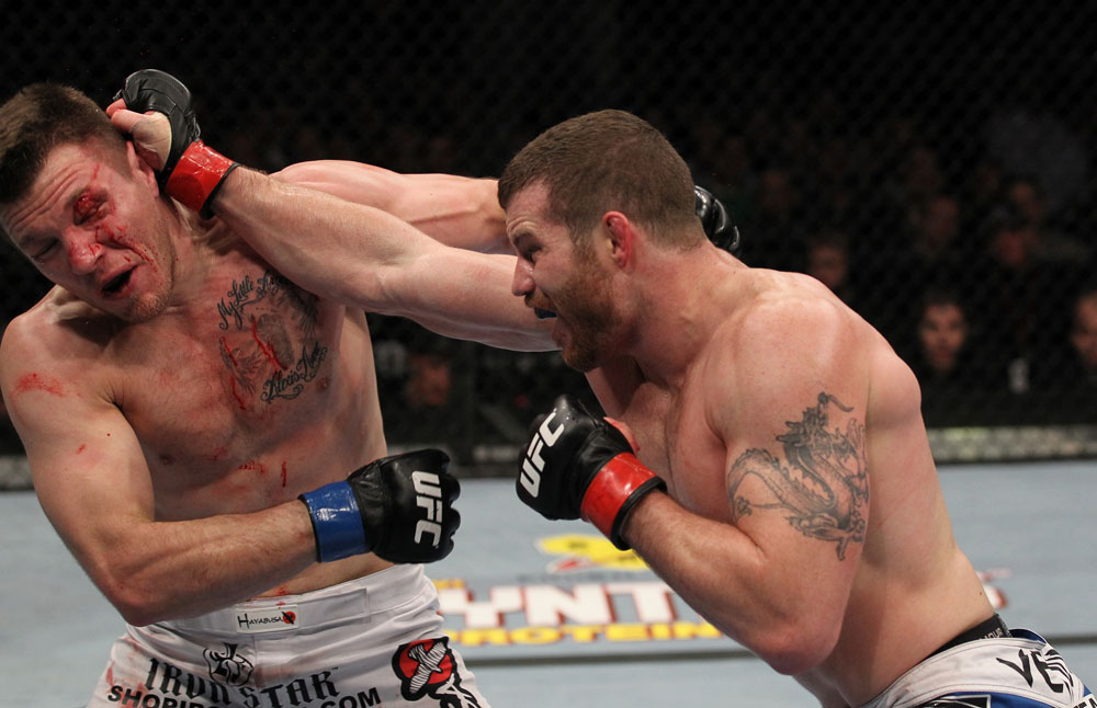 Nate Marquardt (right) defeated Dan Miller via unanimous decision at UFC 128 in his final UFC appearance. (Photo via UFC.com)