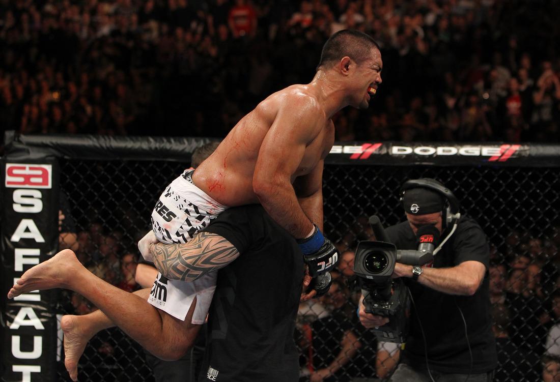 BIRMINGHAM, ENGLAND - NOVEMBER 05: Mark Munoz reacts after defeating Chris Leben during the UFC 138 event at the LG Arena on November 5, 2011 in Birmingham, England. (Photo by Josh Hedges/Zuffa LLC/Zuffa LLC via Getty Images)