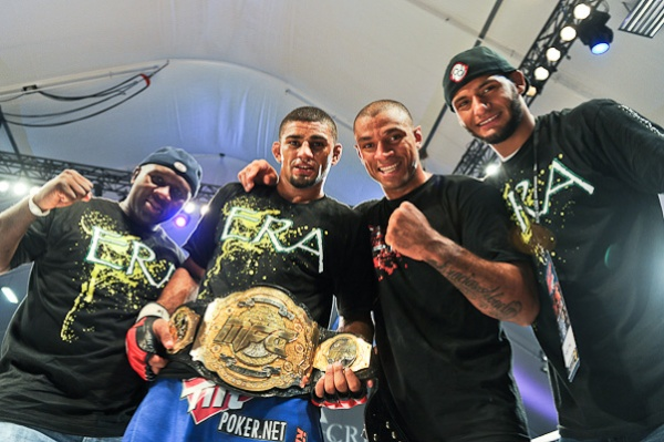 Douglas Lima poses after earning the MFC welterweight belt. (Photo by Charles Penner/CombatCaptured)