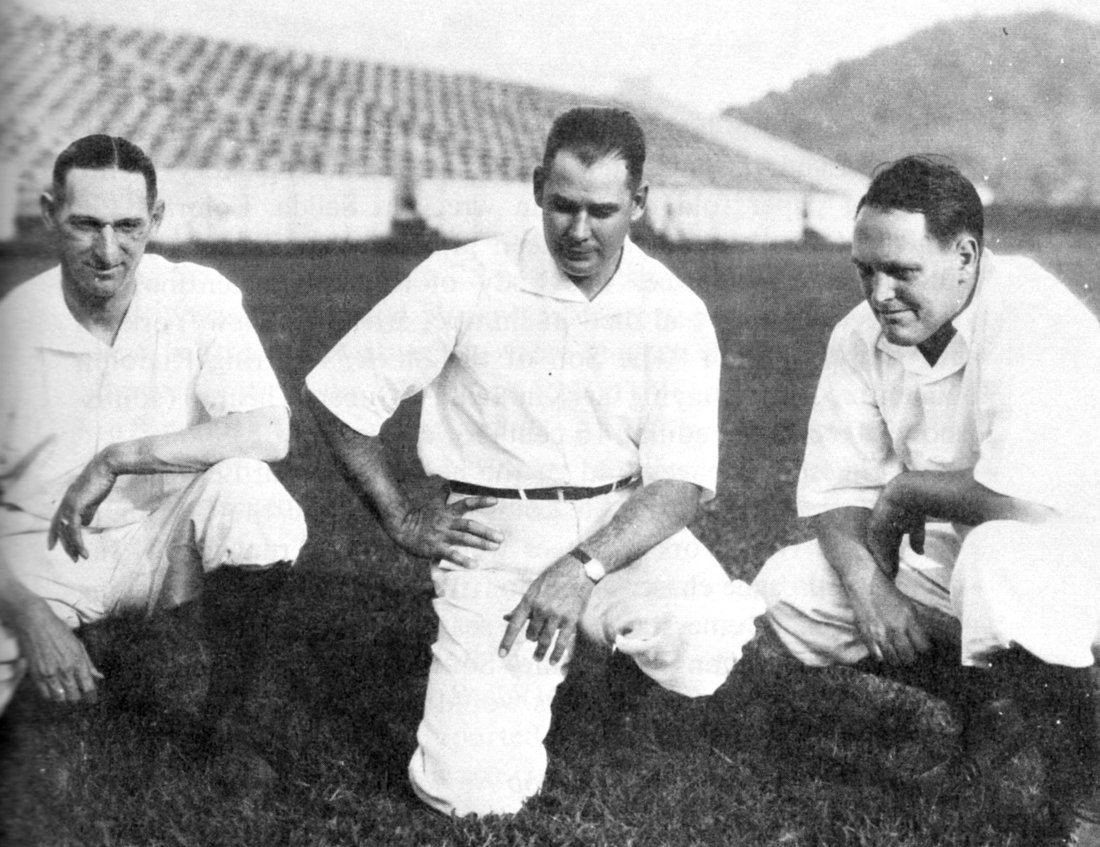 Tennesssee head coach Captain Robert Neyland (center) and his staff, Paul Parker (right) and Bill Britton (left). 1926. Photo Univ. of Tennessee Archives.