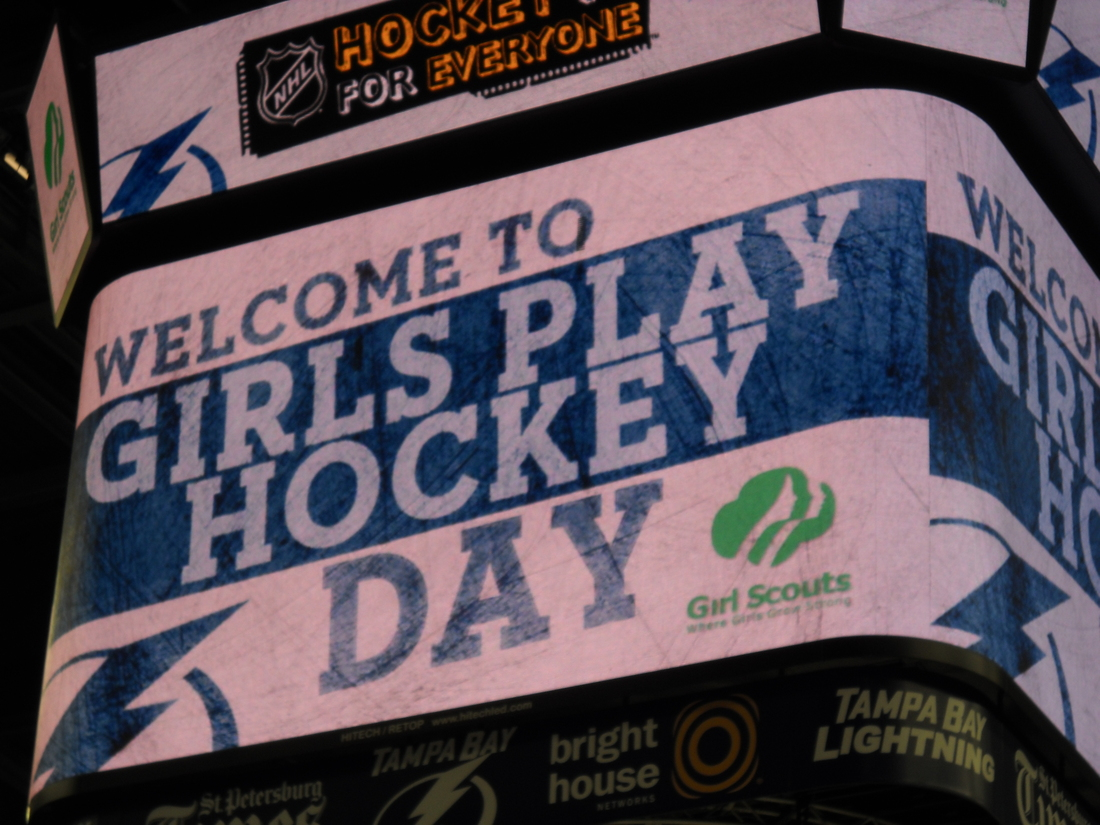 """The center ice scoreboard welcomes participants to the St. Pete Times Forum for the Tampa Bay Lightning's """"Girls Play Hockey"""" event. (photo by Clark Brooks)"""