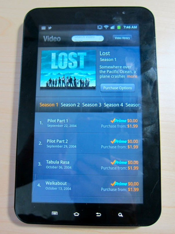Amazon VOD (from Fire) on Galaxy Tab (GigaOm)
